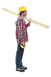 Carpenter with two planks of wood and a hand-saw