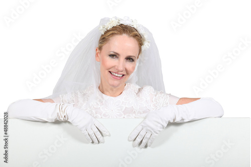 Bride with advertising board