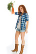 cute cowgirl with carrots