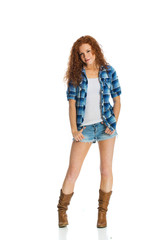 red haired woman with country shorts