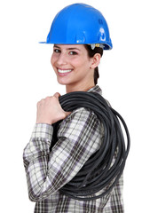 A female electrician.