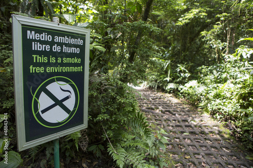 Smoke free environment sign in the forest