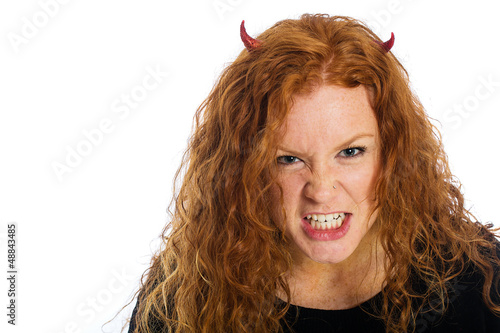 angry devil girl
