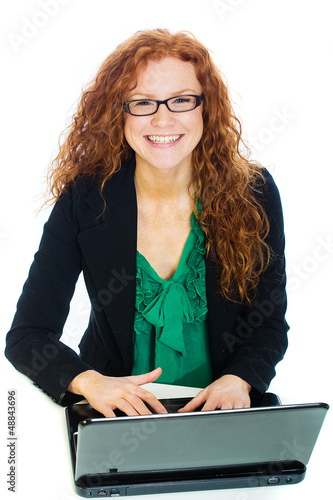 Pretty woman on laptop computer