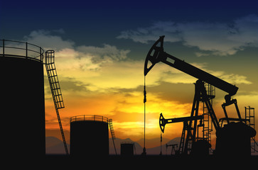 oil pump jack and oil tank