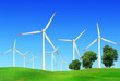 Wind turbines in summer landscape
