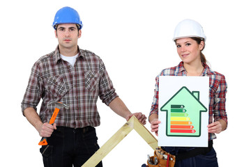 Couple stood with energy rating