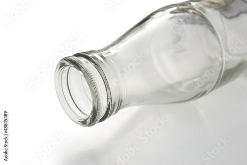 empty milk bottle with clipping path