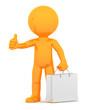 Orange guy with shopping bag