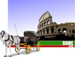 Vintage carriage and horse on Rome background. Vector illustrati