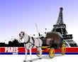 Vintage carriage and horse on Paris background. Vector illustrat