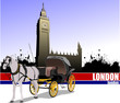 Vintage carriage and horse on London background. Vector illustra