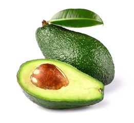 Fresh ripe avocado with leaf
