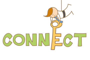 cartoon character of man put a key to connect