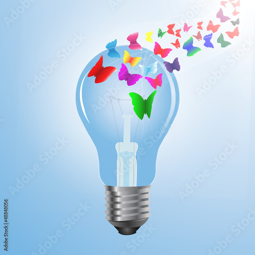 Eco concept design, butterfly flying out from light bulb