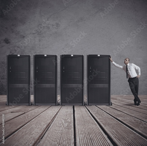 Businessman with server