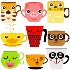 Vector of Coffee Cup / Mug with different animal patterns