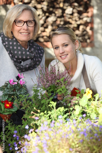 Mother and daughter gardening