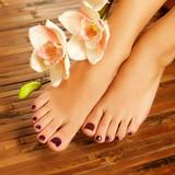 female feet at spa salon on pedicure procedure - 48850050