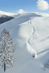 Skifahrer fährt einen Tiefschneehang runter