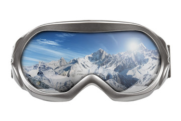ski goggles with reflection of mountains isolated on white