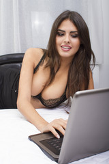sexy woma with laptop