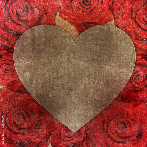 Roses frame with heart