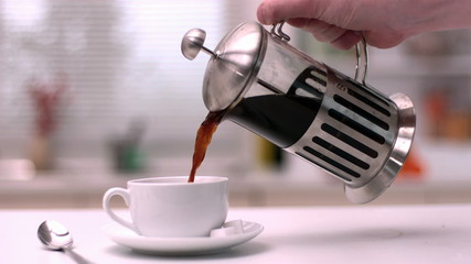 Coffee being poured from cafetiere