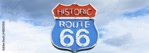 Panoramic view of famous route 66 sign