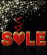 Valentines day sale background, vector illustration