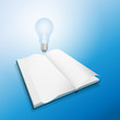 Idea and knowledge concept design.Light bulb on open book
