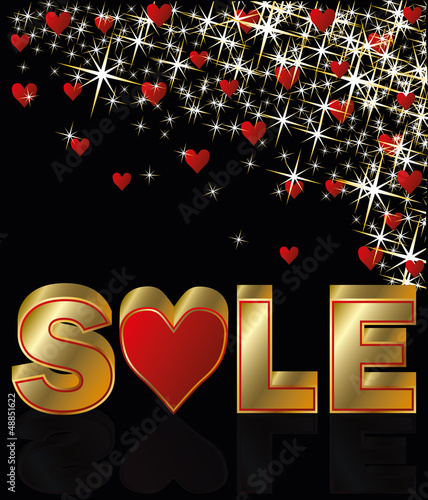 Valentines day sale card, vector illustration