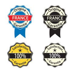 stickers label garantie sur fond blanc