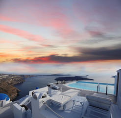 Santorini with luxury swimming pool in Greece