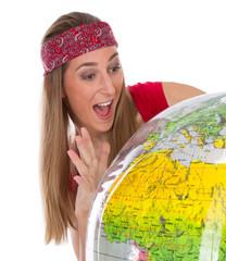 Frau in Urlaubsstimmung isoliert