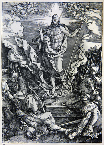 Lithography of Christ resurrection by Albert Durer