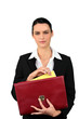 Smart woman taking a file out of a red briefcase