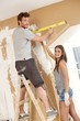 Young couple building new home