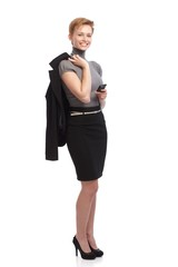 Smiling businesswoman holding mobile