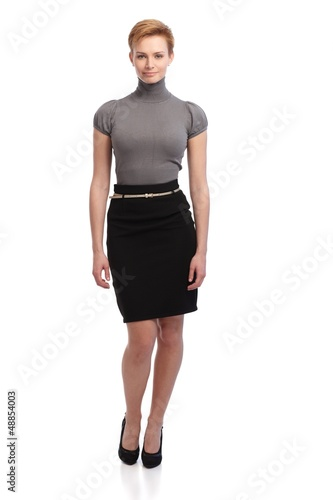 Pretty businesswoman in mini skirt