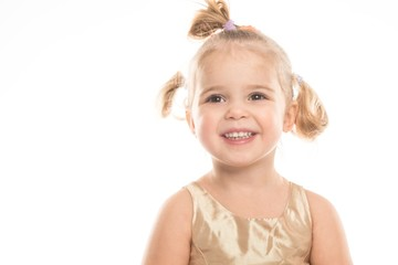 Smiling little girl isolated on white