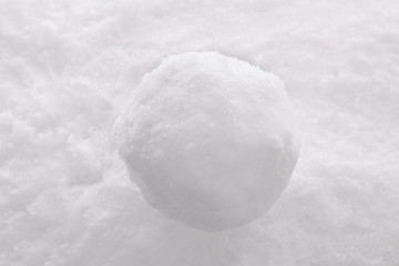 Snowball on snow background.
