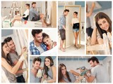 Young couple building new house