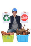 Construction worker encouraging people to recycle waste poster