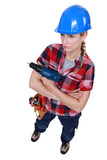 Grumpy female carpenter