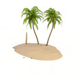 Palmen Insel Surfboard Studio isoliert