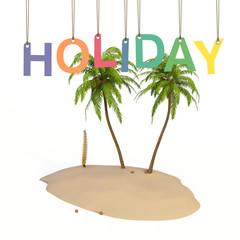 Holiday Insel Palmen Studio Konzept 3D