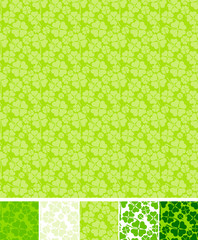 Collection of clover patterns, for Saint Patrick Day.