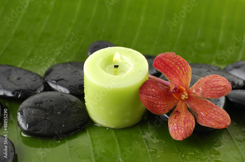 green candle and red flower and stones