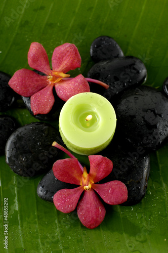 green candle and red orchid flower and stones